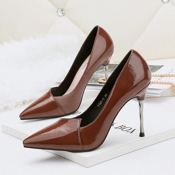 Stiletto decolte scarpa  donna 9.5 cm marrone lucido simil pelle eleganti 9946