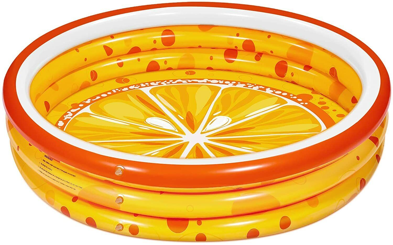 Paddling Pools for Kids, 120x120x28 cm, Orange 3 Rings Inflatable Swimming Pool