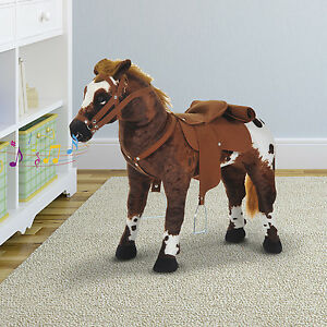 "Kids Toys Toy Ride On Horse Plush 23.6""H Standing Pony Cowboy Gift Neigh Sound"