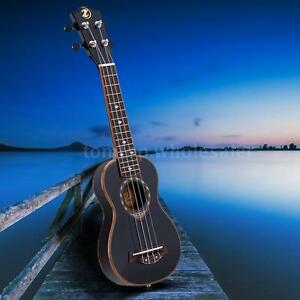 "21"" Soprano Ukulele 4 Strings Spruce Ukulele Ultrathin Black Z2W4"