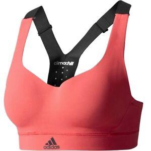 Adidas-Chill-Maedchen-Sport-BH-Fitness-Tank-Top-Crop-Bustier-schwarz-koralle-pink