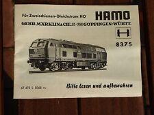 Märklin Beschreibung Anleitung zur Lok Märklin 8375 Hamo Diesellok BR 216 025-7