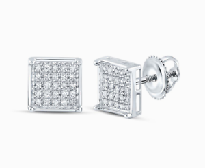 925-Silver-Diamond-Earrings-15ct-Studs-Square-Micro-Pave-Screw-Back-Unisex