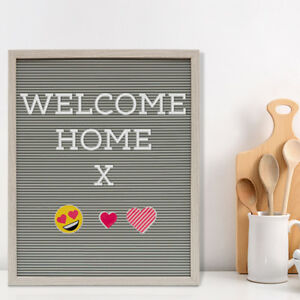 Knight MESSAGE LETTER BOARD 188 WHITE LETTER 30 x 30 CM GREY RUSTIC FRAME 11 EMOJIS