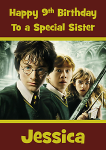 Details about Harry Potter personalised A5 birthday card son daughter niece  nephew name age