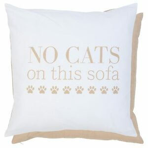 Clayre-amp-Eef-Housse-de-coussin-50x50cm-blanc-beige-no-Chats-on-ceci-Canape-NEUF