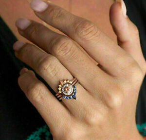 Art-Deco-Women-Wedding-Engagement-Ring-Enamel-Silver-Jewelry-White-Sapphire-Blue