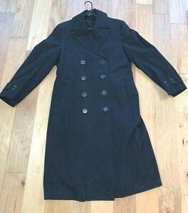 WWII-era-USN-US-Navy-BLACK-Cotton-Bridge-Pea-Overcoat-Coat-LINER-amp-BELT