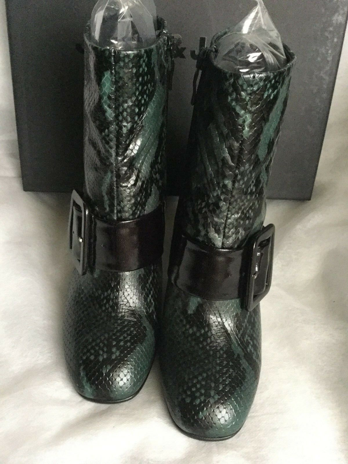 Stunning botas  JANET & JANET    Woman verde-negro, Talla 37, snake print, leather 5fc08a