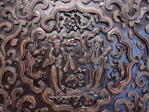 Details About Antique Chinese Carved Wood Panel For Wall Deco 19c Ff101