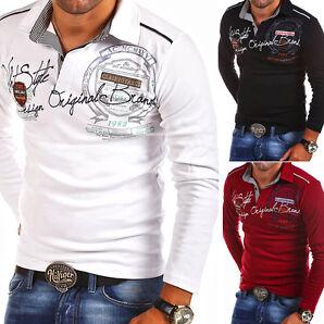 G.B.D. Poloshirt Slim Fit Hemd Langarm Polo Pullover Sweatshirt Schwarz/Weiß NEU