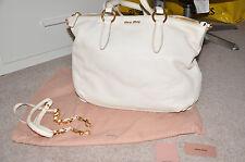 MIU MIU (Prada) large ladies white leather handbag AUTHENTIC £1200 (used twice)