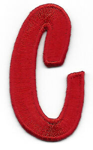 "Iron On Embroidered Applique Red Script  2/"" Letter /""O/"" SCRIPT LETTERS"