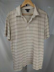Banana-Republic-coton-pima-homme-marron-clair-a-rayures-a-manches-courtes-Polo-Shirt-Taille-XL