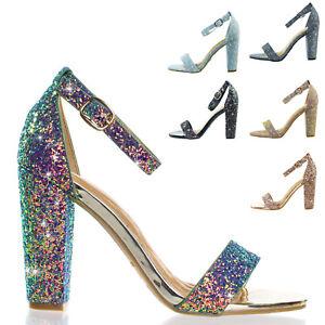 Frenzy Block Heel Mesh Glitter Open Toe