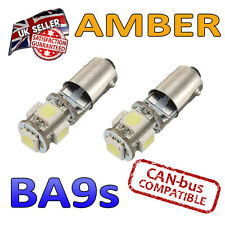 2 X BA9S AMBER LED BULBS 5 SMD 233 T4W SIDE LIGHT PLATE INTERIOR BRIGHT
