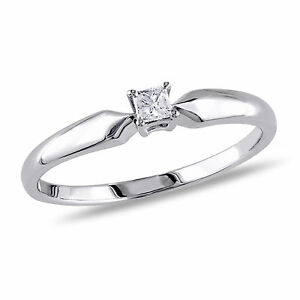 Sterling-Silver-1-10-ct-TDW-Princess-Diamond-Ring-J-K-I2-I3