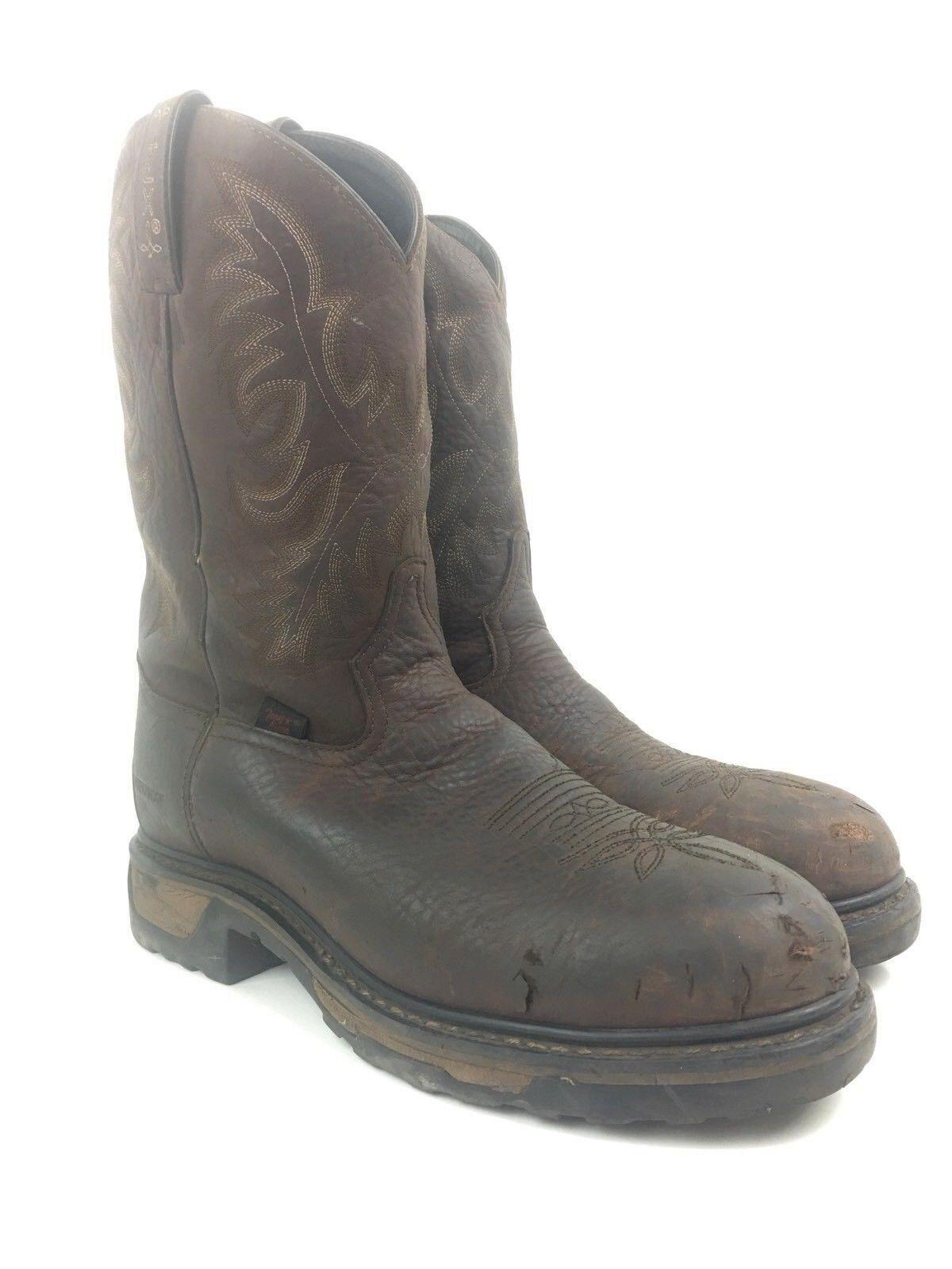 Tony Lama Mens US Sz 9.5D Brown Embroidered Waterproof Steel Toe Cowboy Boots
