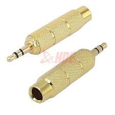 """Gold Plated Female 1/4"""" Jack to Male 3.5mm 1/8"""" Headphone Stereo Audio Adapter"""