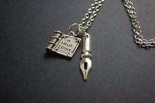 a true story book writer pen necklace vintage kitsch