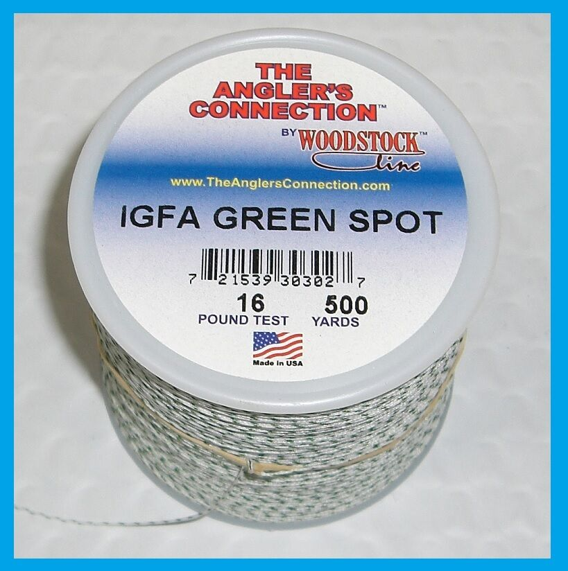 Woodstock braided dacron igfa fishing line green spot 16lb for Dacron fishing line