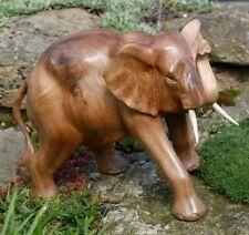 Toller 20cm großer Holz ELEFANT Figur Bali Deko Glück Elephant Tier 12