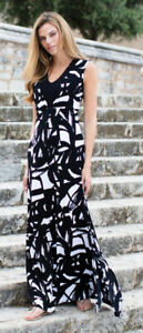 Marble Fashions V Neck Black and White Maxi Dress 5354-102 60/% off RRP £69.99