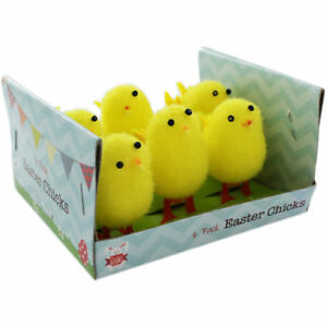 New 6 x Large Yellow Fluffy Easter Chicks Bow Cake Craft Decorating Art Bonnet m