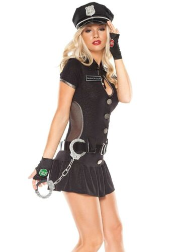 ensemble 5 pièces Royaume-Uni S//M taille 10//12 Coquette Fashion Police Femmes Costume NEUF.