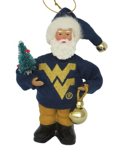 West Virginia College Santa Christmas Tree Ornament Holiday Home Decor
