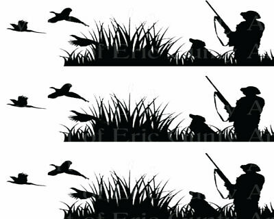 Side Strips ~ Edible 2D Fondant Birthday Cake Side Toppers ~ D22632 Patriotic Pheasant Hunting Birthday Background