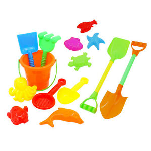 14tlg-Sandspielzeug-Set-Sandkasten-Spielzeug-Sand-Strand-Eimergarnitur