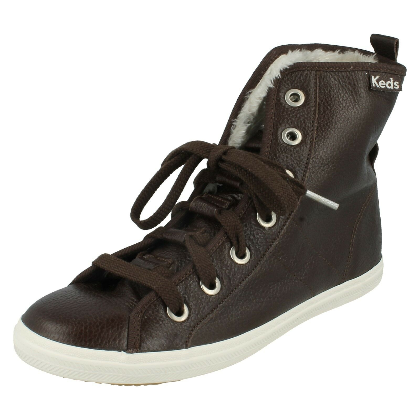 LADIES KEDS LEATHER FUR LINED LACE UP ANKLE BOOTS SHOES LOOP DE LOOP WH52030