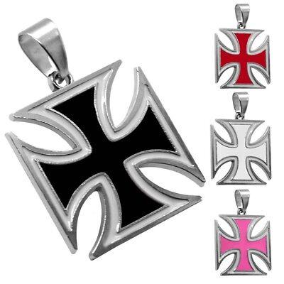 1 Kettenanhänger Eisernes Kreuz Anhänger Halskette Panzerkette Weiß Pink Schwarz