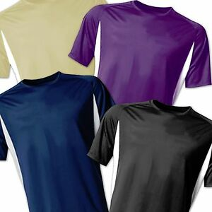 Mens Rash Guard Swim Shirt SPF 40 Loose Fit Fitting Swimwear Navy Blue Tan White