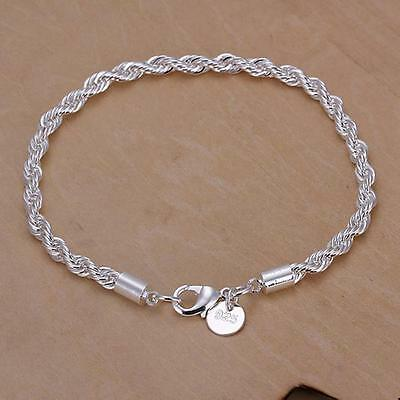 Fashion Silver plated 4MM rope chain Party Beautiful bracelet jewelry cute nice