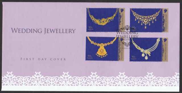 SINGAPORE 2017 WEDDING JEWELLERY FIRST DAY COVER WITH COMP. SET OF 4 STAMPS