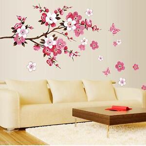 New-Room-Peach-Blossom-Flower-Butterfly-Wall-Sticker-Vinyl-Art-Decal-Decor-Mural