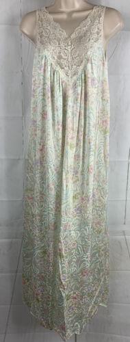 Vtg. Vaserette Floral Nightgown Lace Chest Sexy Pr