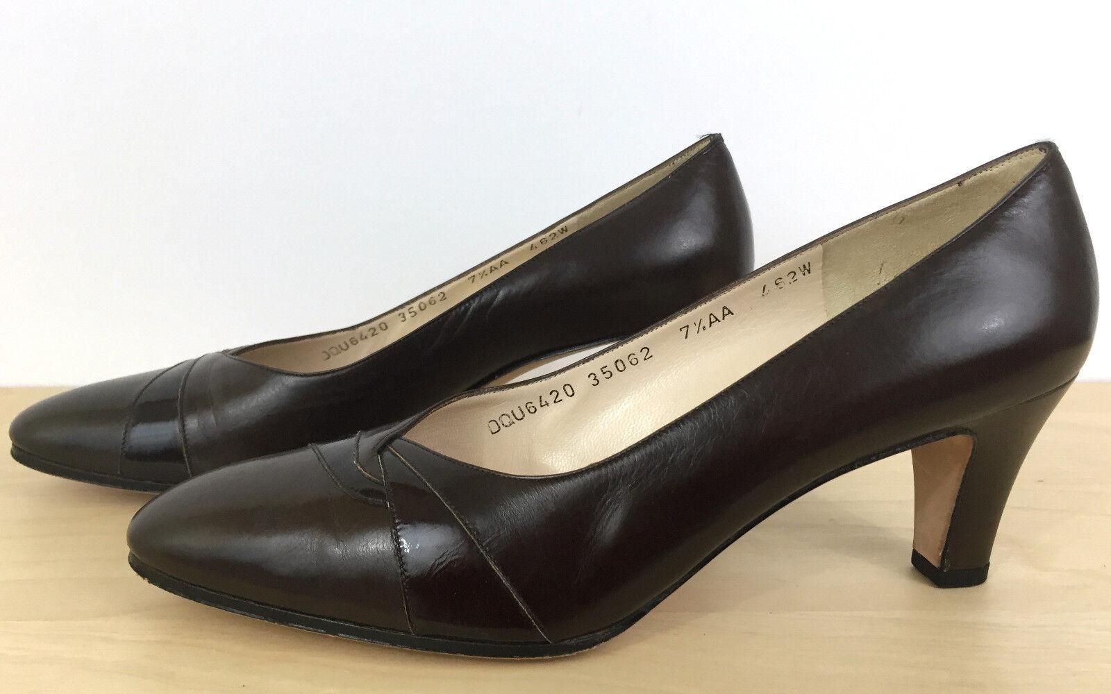 Ferragamo Italian braun Patent Leather Leather Patent Classic Designer Pumps 7.5AA 38 3ab246