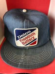 8726ce2eb97 Image is loading Vintage-Delco-Freedom-Battery-Denim-Patch-Snapback-Hat-