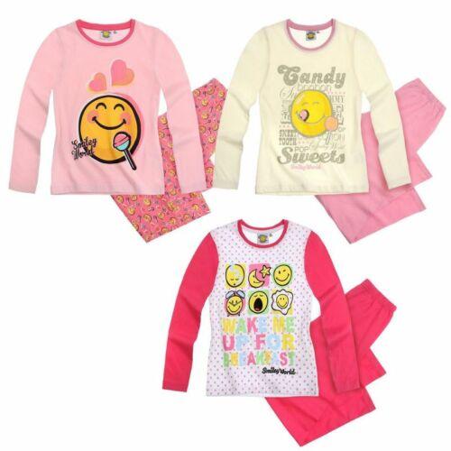 Smiley Schlafanzug Gr 116-128 Mädchen Schlafanzug Pyjama Schlafi Nachtwäsche