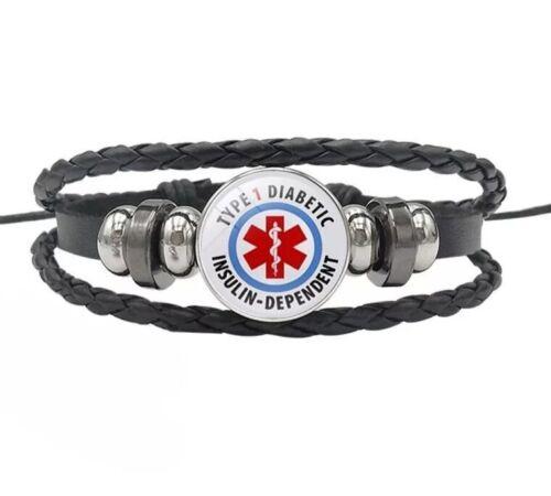 Diabetes Diabetic Type 1 2 Medical Alert Bracelet Badge Type Survival Leather