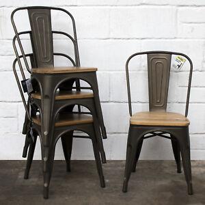 Set of 4 Gun Metal Grey Industrial Dining Chair Kitchen ...