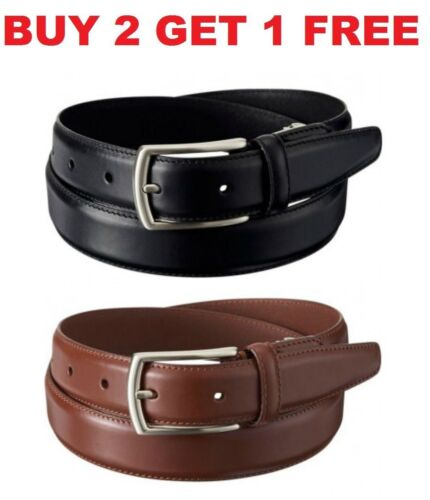 Men/'s Casual Black Brown Dress Genuine Leather Belt w// Buckle New Size S M L XL
