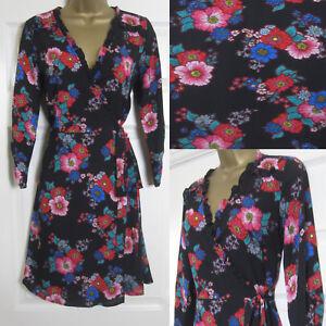NEW-Red-Herring-Debenhams-Tea-Dress-Wrap-Skater-Floral-Black-Pink-Red-Sz-8-18