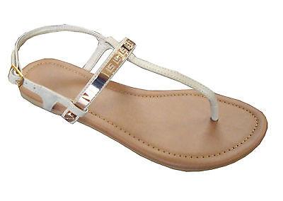 New  Ladies' T-Strap Metal Gladiator Flat Sandal*** (8083)
