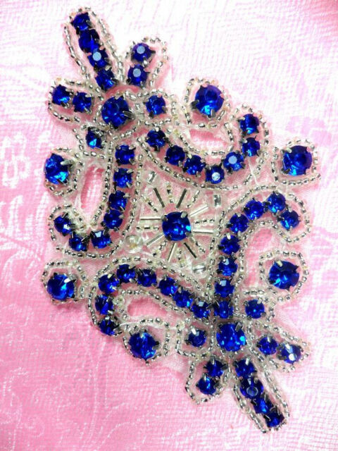 "JB115 Applique Royal Blue Rhinestone Silver Beaded 4""  Patch Motif Sewing Crafts"