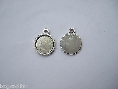 100 Anti-Silver Tiny 12mm Round Charm PENDANT TRAYS Blank Bezel/Cabochon Setting