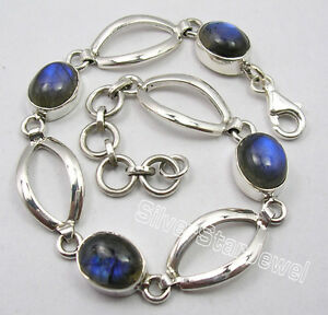 925-Sterling-Silber-Erstaunlich-Blue-Fire-Labradorit-Betaeubung-Armband-7-7-034